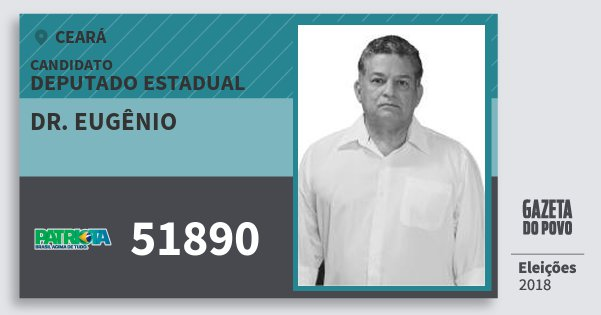 Santinho Dr. Eugênio 51890 (PATRI) Deputado Estadual | Ceará | Eleições 2018