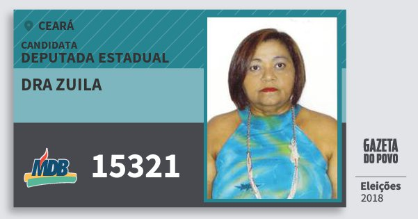 Santinho Dra Zuila 15321 (MDB) Deputada Estadual | Ceará | Eleições 2018