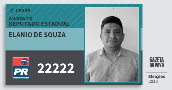 Santinho Elanio de Souza 22222 (PR) Deputado Estadual | Ceará | Eleições 2018