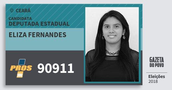Santinho Eliza Fernandes 90911 (PROS) Deputada Estadual | Ceará | Eleições 2018