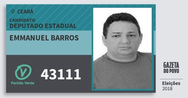 Santinho Emmanuel Barros 43111 (PV) Deputado Estadual | Ceará | Eleições 2018