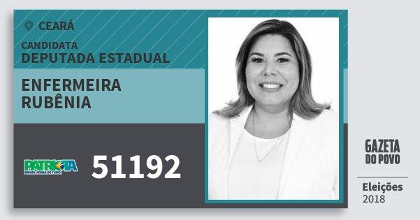 Santinho Enfermeira Rubênia 51192 (PATRI) Deputada Estadual | Ceará | Eleições 2018