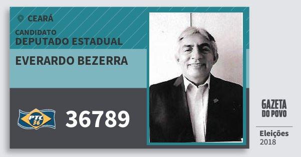 Santinho Everardo Bezerra 36789 (PTC) Deputado Estadual | Ceará | Eleições 2018