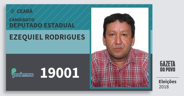 Santinho Ezequiel Rodrigues 19001 (PODE) Deputado Estadual   Ceará   Eleições 2018
