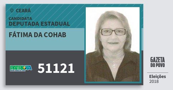 Santinho Fátima da Cohab 51121 (PATRI) Deputada Estadual | Ceará | Eleições 2018