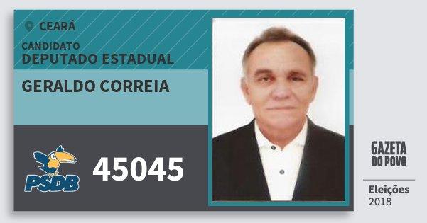 Santinho Geraldo Correia 45045 (PSDB) Deputado Estadual | Ceará | Eleições 2018