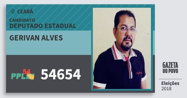 Santinho Gerivan Alves 54654 (PPL) Deputado Estadual | Ceará | Eleições 2018
