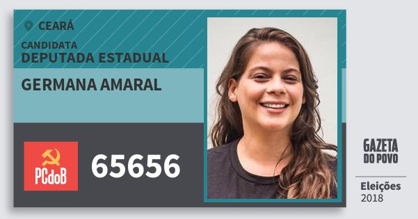 Santinho Germana Amaral 65656 (PC do B) Deputada Estadual   Ceará   Eleições 2018
