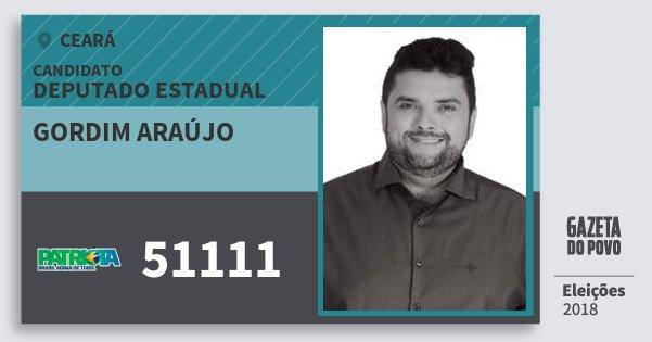 Santinho Gordim Araújo 51111 (PATRI) Deputado Estadual | Ceará | Eleições 2018