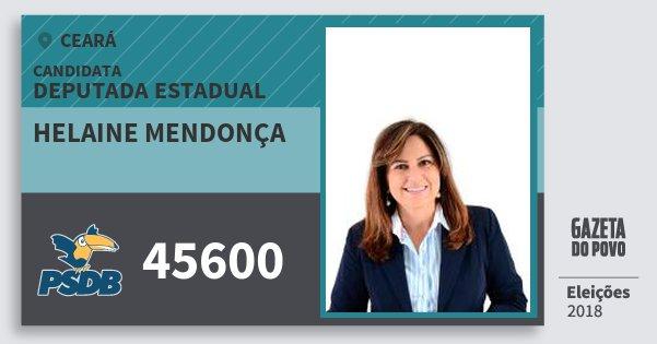 Santinho Helaine Mendonça 45600 (PSDB) Deputada Estadual | Ceará | Eleições 2018
