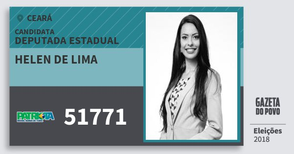 Santinho Helen de Lima 51771 (PATRI) Deputada Estadual | Ceará | Eleições 2018