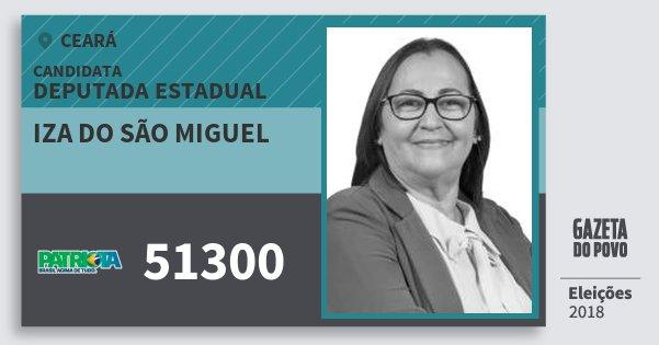 Santinho Iza do São Miguel 51300 (PATRI) Deputada Estadual | Ceará | Eleições 2018