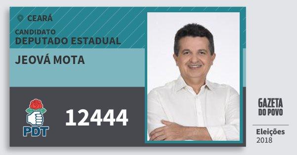 Santinho Jeová Mota 12444 (PDT) Deputado Estadual | Ceará | Eleições 2018