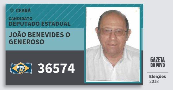 Santinho João Benevides O Generoso 36574 (PTC) Deputado Estadual | Ceará | Eleições 2018