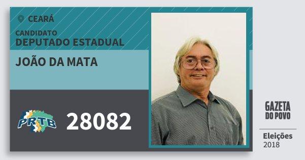 Santinho João da Mata 28082 (PRTB) Deputado Estadual | Ceará | Eleições 2018