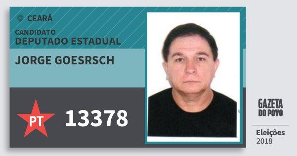 Santinho Jorge Goesrsch 13378 (PT) Deputado Estadual | Ceará | Eleições 2018
