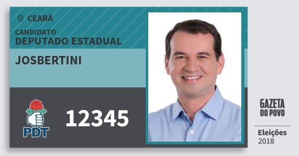 Santinho Josbertini 12345 (PDT) Deputado Estadual | Ceará | Eleições 2018