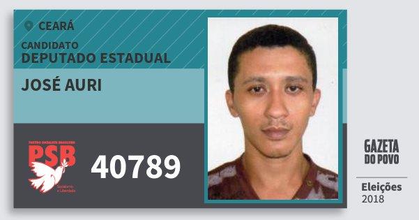 Santinho José Auri 40789 (PSB) Deputado Estadual | Ceará | Eleições 2018