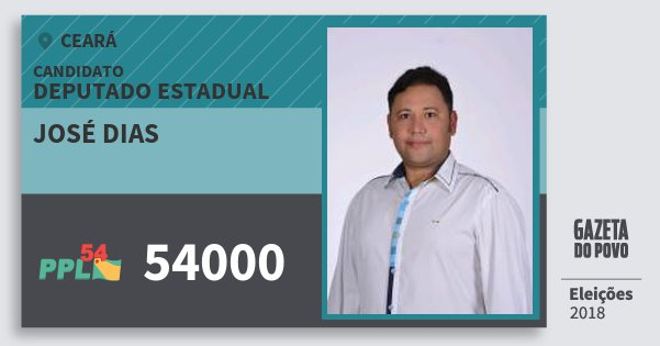 Santinho José Dias 54000 (PPL) Deputado Estadual | Ceará | Eleições 2018