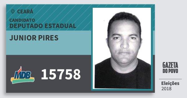 Santinho Junior Pires 15758 (MDB) Deputado Estadual | Ceará | Eleições 2018
