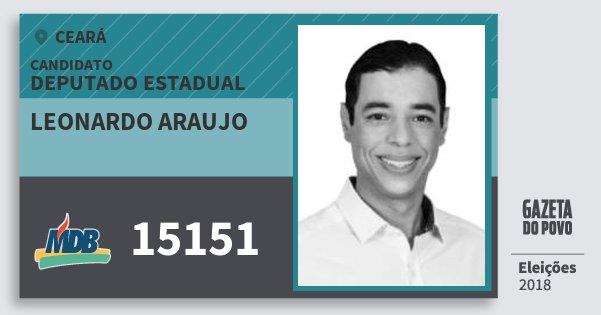 Santinho Leonardo Araujo 15151 (MDB) Deputado Estadual | Ceará | Eleições 2018