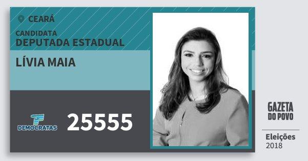 Santinho Lívia Maia 25555 (DEM) Deputada Estadual | Ceará | Eleições 2018
