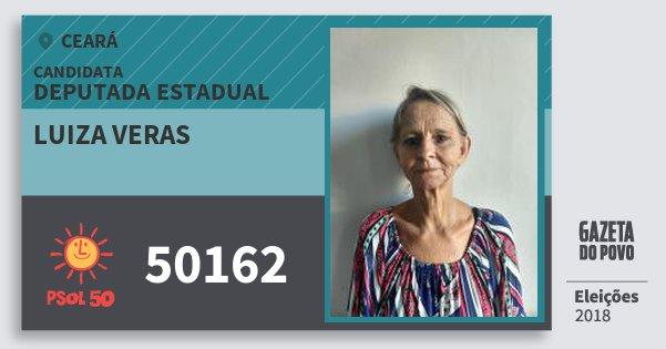 Santinho Luiza Veras 50162 (PSOL) Deputada Estadual | Ceará | Eleições 2018