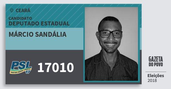 Santinho Márcio Sandália 17010 (PSL) Deputado Estadual | Ceará | Eleições 2018