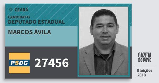 Santinho Marcos Ávila 27456 (DC) Deputado Estadual | Ceará | Eleições 2018