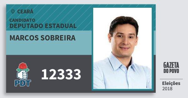Santinho Marcos Sobreira 12333 (PDT) Deputado Estadual | Ceará | Eleições 2018