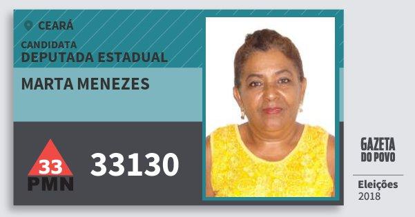 Santinho Marta Menezes 33130 (PMN) Deputada Estadual | Ceará | Eleições 2018