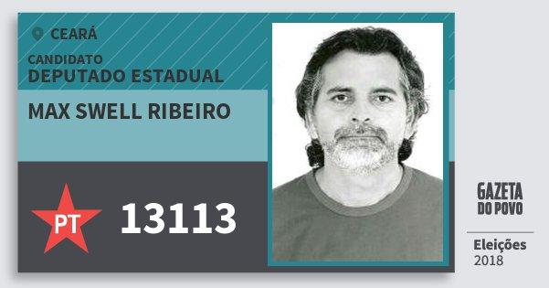 Santinho Max Swell Ribeiro 13113 (PT) Deputado Estadual | Ceará | Eleições 2018