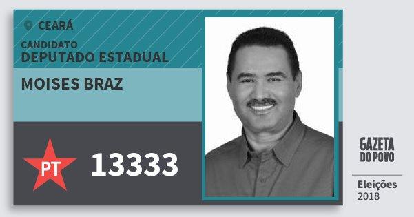 Santinho Moises Braz 13333 (PT) Deputado Estadual | Ceará | Eleições 2018