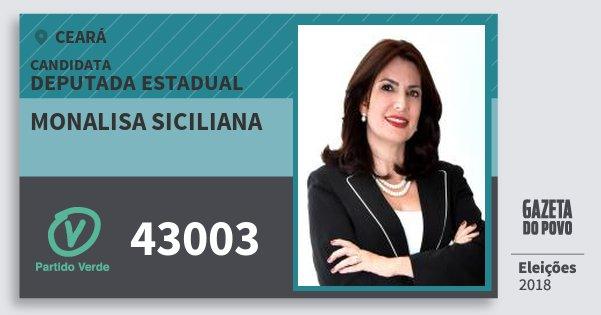 Santinho Monalisa Siciliana 43003 (PV) Deputada Estadual | Ceará | Eleições 2018