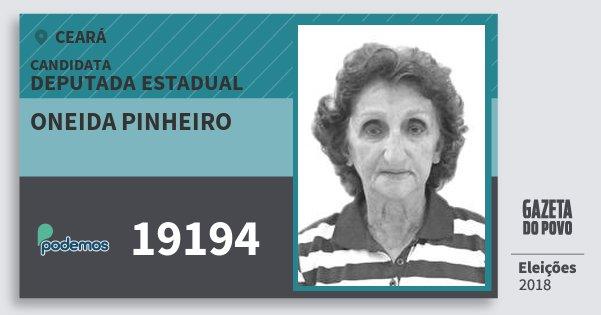 Santinho Oneida Pinheiro 19194 (PODE) Deputada Estadual | Ceará | Eleições 2018