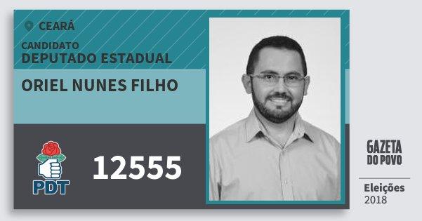 Santinho Oriel Nunes Filho 12555 (PDT) Deputado Estadual | Ceará | Eleições 2018