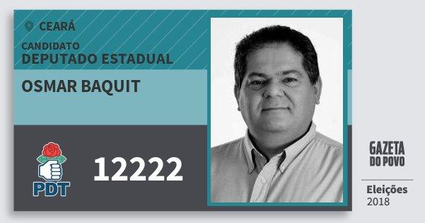 Santinho Osmar Baquit 12222 (PDT) Deputado Estadual | Ceará | Eleições 2018