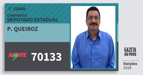 Santinho P. Queiroz 70133 (AVANTE) Deputado Estadual | Ceará | Eleições 2018