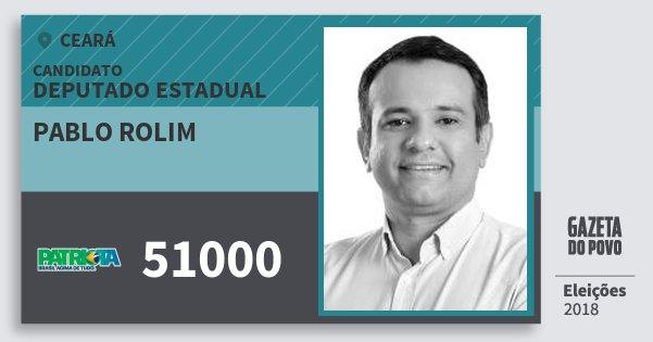 Santinho Pablo Rolim 51000 (PATRI) Deputado Estadual | Ceará | Eleições 2018