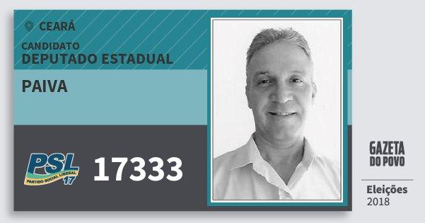 Santinho Paiva 17333 (PSL) Deputado Estadual | Ceará | Eleições 2018