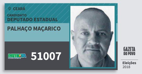 Santinho Palhaço Maçarico 51007 (PATRI) Deputado Estadual | Ceará | Eleições 2018