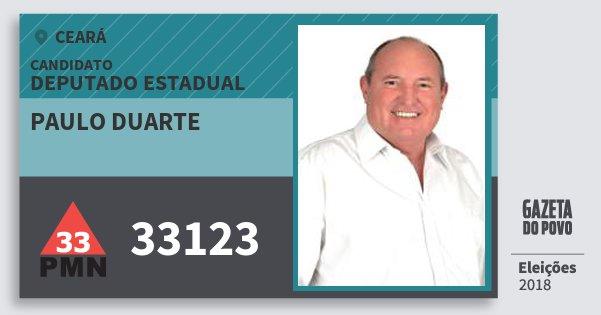 Santinho Paulo Duarte 33123 (PMN) Deputado Estadual | Ceará | Eleições 2018