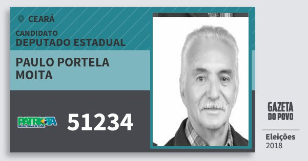 Santinho Paulo Portela Moita 51234 (PATRI) Deputado Estadual | Ceará | Eleições 2018