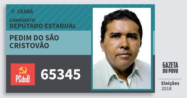 Santinho Pedim do São Cristovão 65345 (PC do B) Deputado Estadual | Ceará | Eleições 2018