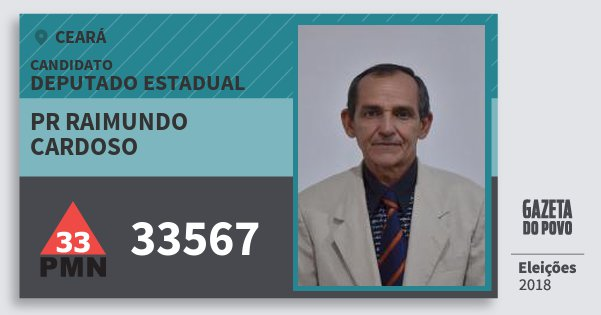 Santinho Pr Raimundo Cardoso 33567 (PMN) Deputado Estadual | Ceará | Eleições 2018