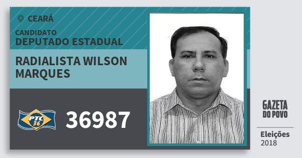 Santinho Radialista Wilson Marques 36987 (PTC) Deputado Estadual | Ceará | Eleições 2018