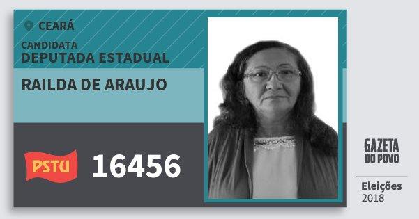 Santinho Railda de Araujo 16456 (PSTU) Deputada Estadual | Ceará | Eleições 2018