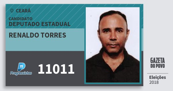 Santinho Renaldo Torres 11011 (PP) Deputado Estadual | Ceará | Eleições 2018