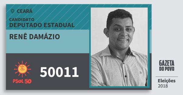 Santinho Renê Damázio 50011 (PSOL) Deputado Estadual | Ceará | Eleições 2018