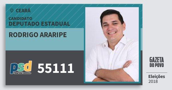 Santinho Rodrigo Araripe 55111 (PSD) Deputado Estadual | Ceará | Eleições 2018